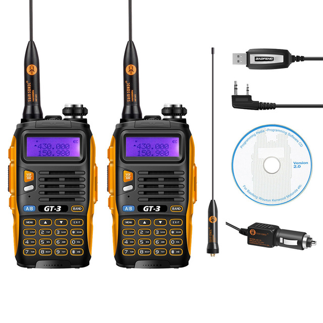 2 Pcs Baofeng GT-3 MarkII Dual Band 2M/70cm 136-174/400-520MHz Ham Two-Way Radio Walkie Talkie + Programming Cable&CD Software