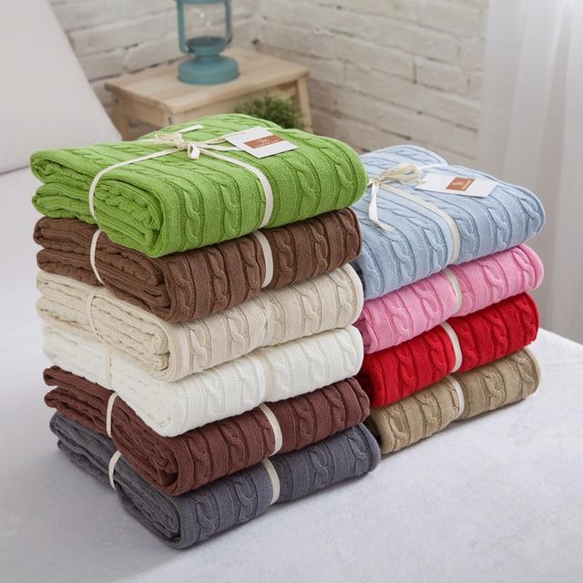 Couverture tricotée lit Banket 100% coton Super doux couverture sur le lit/canapé couverture couverture 120*180/200*180cm