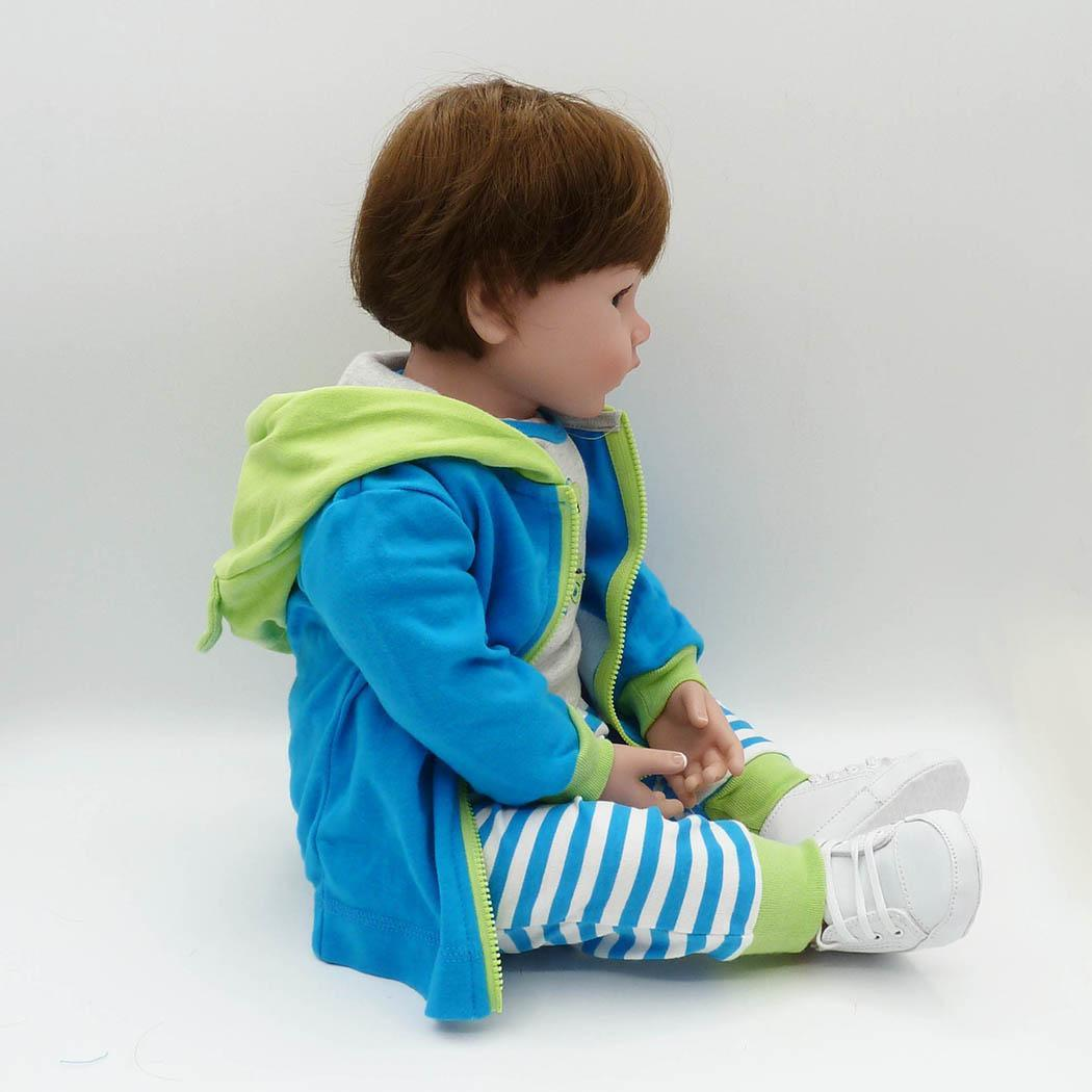 NPK NEW Sports design 48cm Silicone Doll Reborn Baby in blue stripes Toy For baby Newborn Baby Gift For Child Bedtime model DIY in Dolls from Toys Hobbies