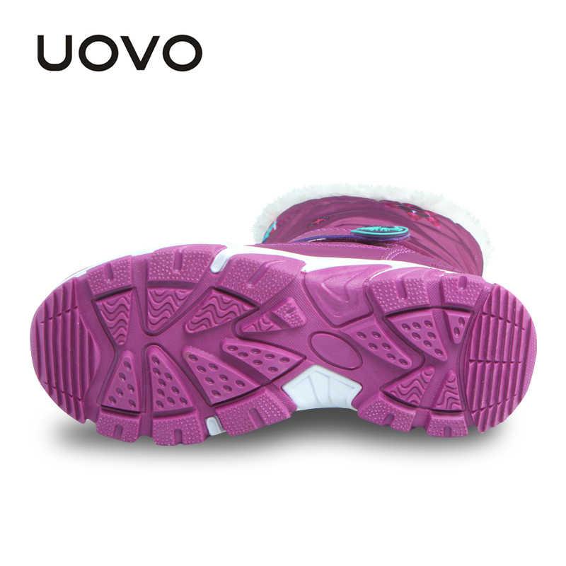 UOVO בנות מגפי סגול ילדים שלג מגפיים עמיד למים חמים מגפי ילדי חורף נעלי ילדי בנות