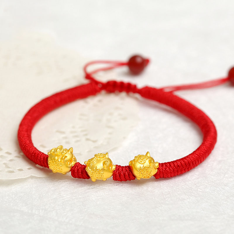 Real 999 24K Yellow 3D Gold Year of the Pig Bracelet Little Pig Zodiac Weaving Red Rope Bead For Women Men Female Bracelet 16cm Real 999 24K Yellow 3D Gold Year of the Pig Bracelet Little Pig Zodiac Weaving Red Rope Bead For Women Men Female Bracelet 16cm