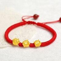 Real 999 24K Yellow 3D Gold Year of the Pig Bracelet Little Pig Zodiac Weaving Red Rope Bead For Women Men Female Bracelet 16cm