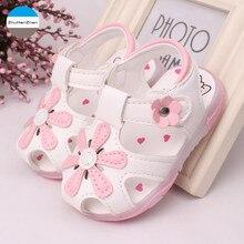 Светодиодный светильник, обувь для детей 0-3 лет, сандалии для маленьких девочек, красивая светящаяся детская обувь с цветами, мягкая подошва, обувь для новорожденных