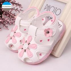 2019 светодиодный светильник, обувь для детей 0-3 лет, сандалии для маленьких девочек, красивая светящаяся детская обувь с цветами, мягкая подо...