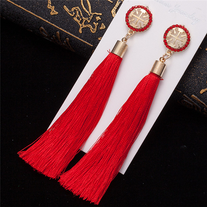 HTB15GSpVYPpK1RjSZFFq6y5PpXaR - HOCOLE Bohemian Crystal Tassel Earrings Black White Blue Red Pink Silk Fabric Long Drop Dangle Tassel Earrings For Women Jewelry