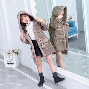 Image 1 - אופנה בנות חם מעילי חורף משובץ סלעית מעיל מעיילי הלבשה עליונה ילדי ילדה עבה מעיל במשקל כבד 4 14Y ילדים