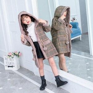 Image 1 - ファッション女の子のためのウォームジャケット冬の格子縞のフード付きコートパーカー上着子供女の子厚いオーバーヘビー級 4 14Y 子供