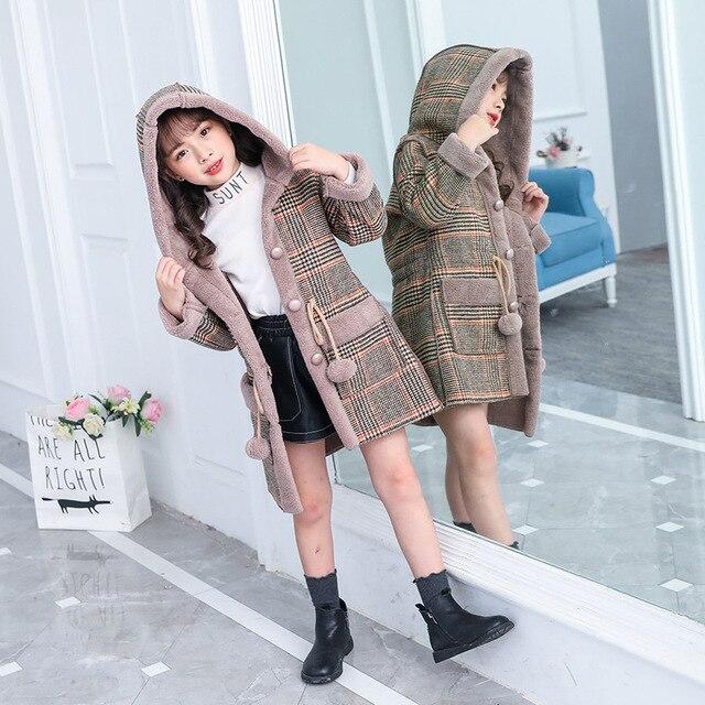 ファッション女の子のためのウォームジャケット冬の格子縞のフード付きコートパーカー上着子供女の子厚いオーバーヘビー級 4 14Y 子供