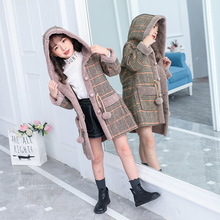 Fashion Girls Warm Jackets For Winter Plaid Hooded Coat Parkas Outerwear Children Girl Thick Overcoat Heavyweight 4 14Y Kids