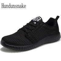 Hundunsnake Summer Black Sneakers Men Gym Shoes Lightweight Male Shoes Sport Adult Mesh Running Shoes For Men Krasovki 2017 T280