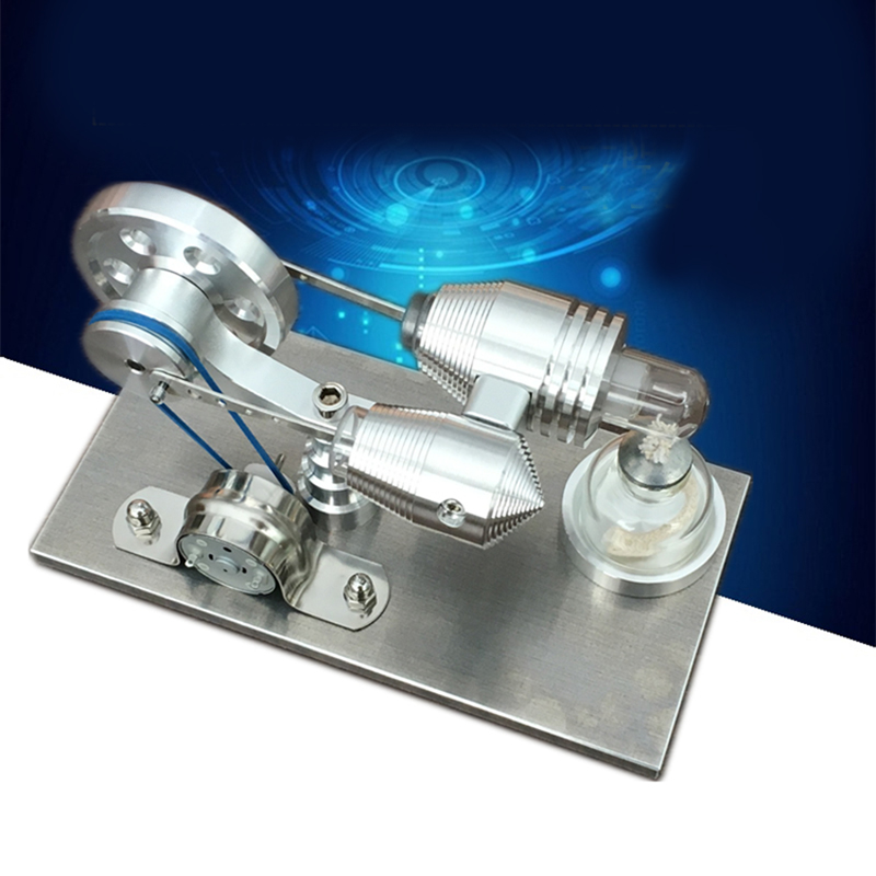 Mini Hot Air Stirling Engine Motor Model Educational Toy Kit Gift With LED Light