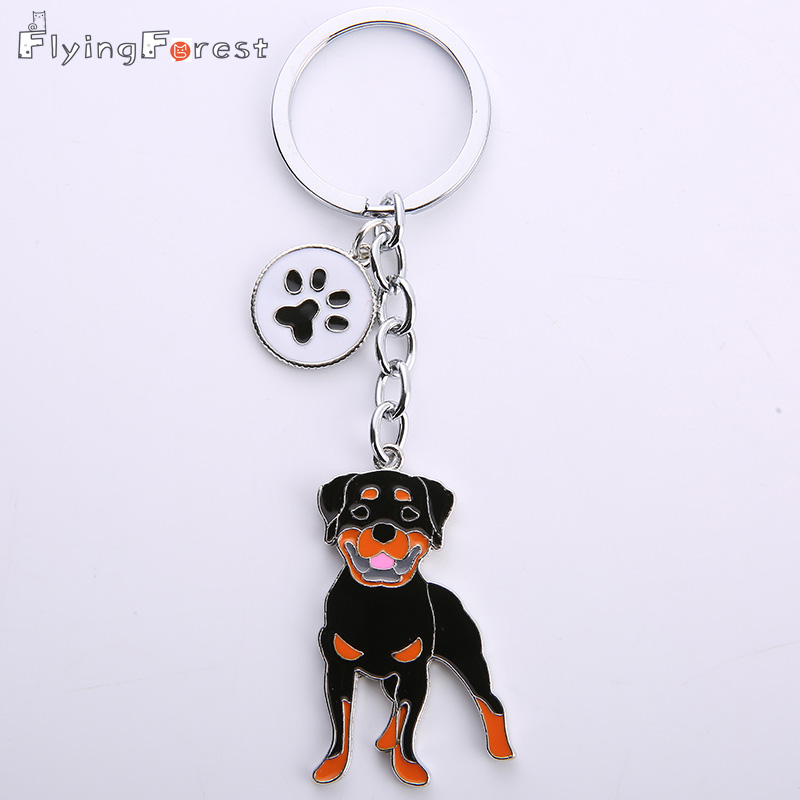 Wholesale Pomeranian Pet Dogs KeyChains Bone Pendant Luxury Keychain Metal Charm Dog Key Ring Charm Gift for Man Jewelry Woman
