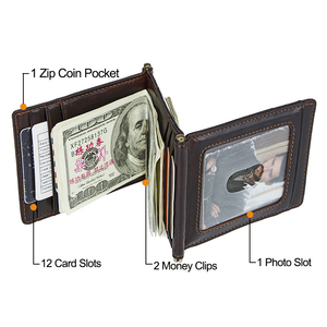 Image 4 - CONTACTS מטורף סוס עור פרה עור RFID כסף קליפ slim כרטיס ארנק trifold זכר מזומנים מהדק איש מזומנים מחזיק zip מטבע כיס