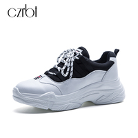 CZRBT Women Shoes Genuine Leather Casual Flats Spring Fashion Mixed Colors Height Increasing Platform Shoes Woman