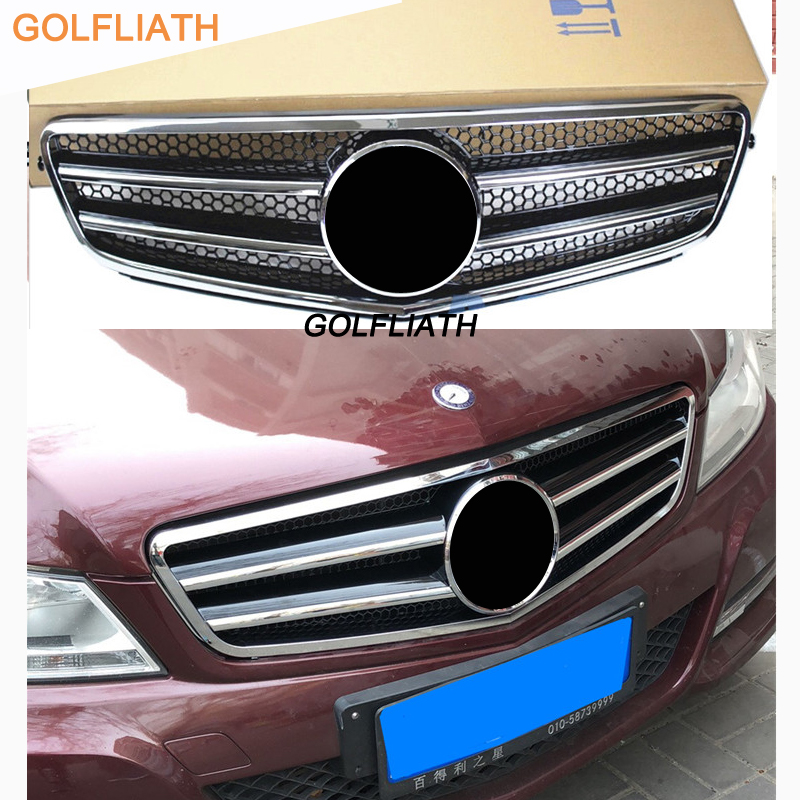 W204 C-Class Front Bumper Grill center Grille for Mercedes Benz W204 C-CLASS C180 C200 C260 C300 ( not for C63 AMG ) 2007 - 2014 car styling led drl for mercedes benz w204 c class c180 c200 c250 c260 c300 2008 2010 led bumper daytime running lights daylight