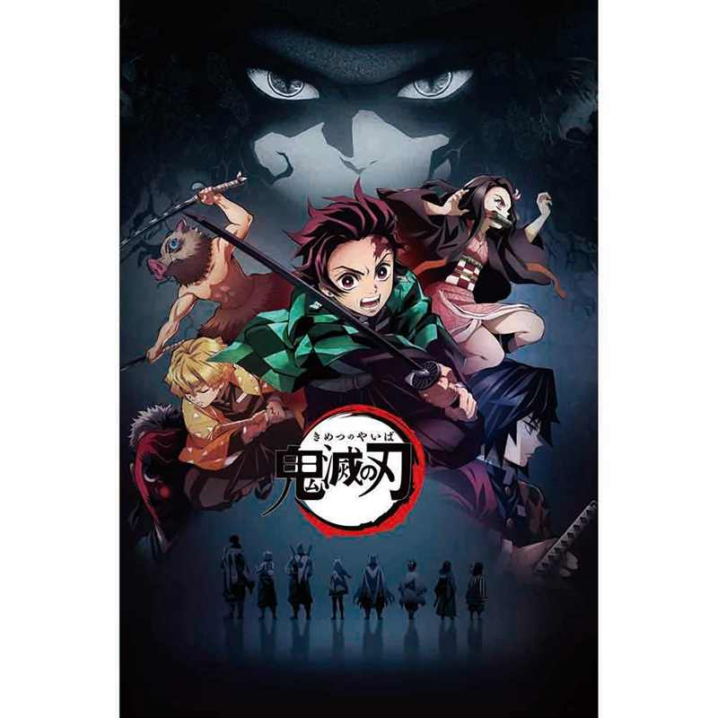 Japanese Anime Demon Slayer: Kimetsu no Yaiba Kamado Tanjirou Kamado Nezuko Wall Scroll Poster Wall Hanging Poster Home Decor