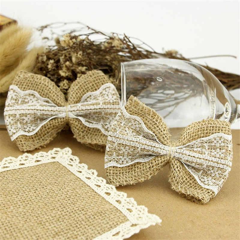 1Pcs Vintage תחרה Bowknot טבעי יוטה יוטה הסיאן קשתות DIY תחרה סרט אמנות לחג המולד מסיבת חתונת קישוט 62516