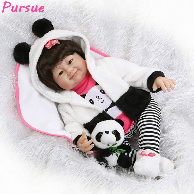 Pursue 22/55 cm New Panda Clothes Silicone Reborn Baby Dolls Lovely Adora Doll Reborn for Baby Gift bebe reborn menina realista