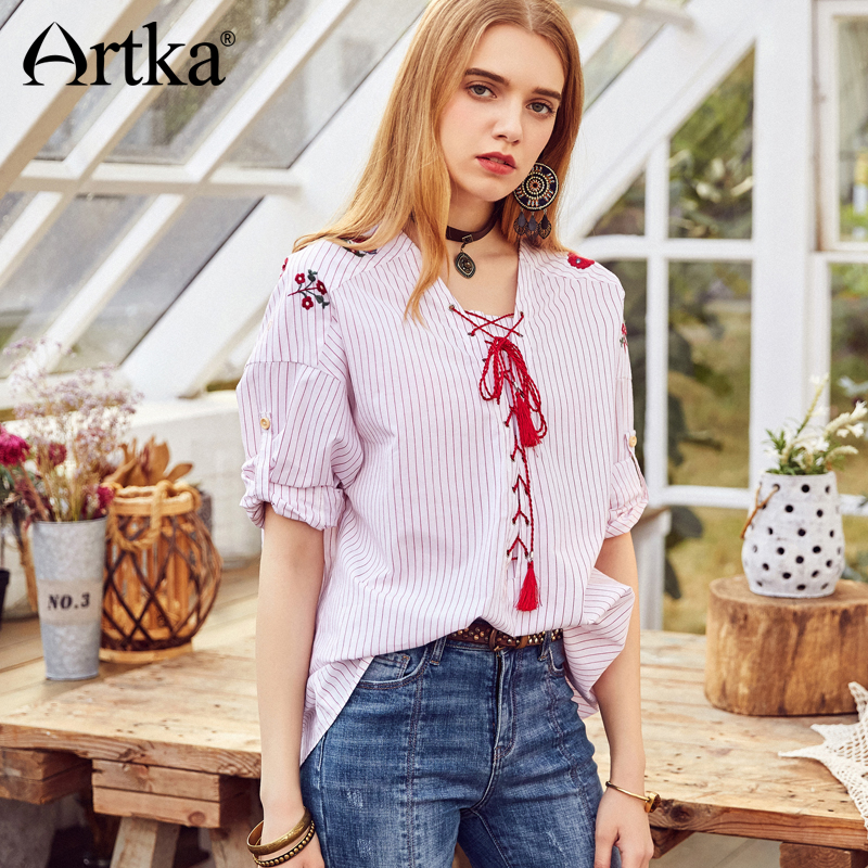 ARTKA été 2018 nouveau broderie Bandage loisirs frais rayé chemise glands femme ethnique Blouse SA10986C