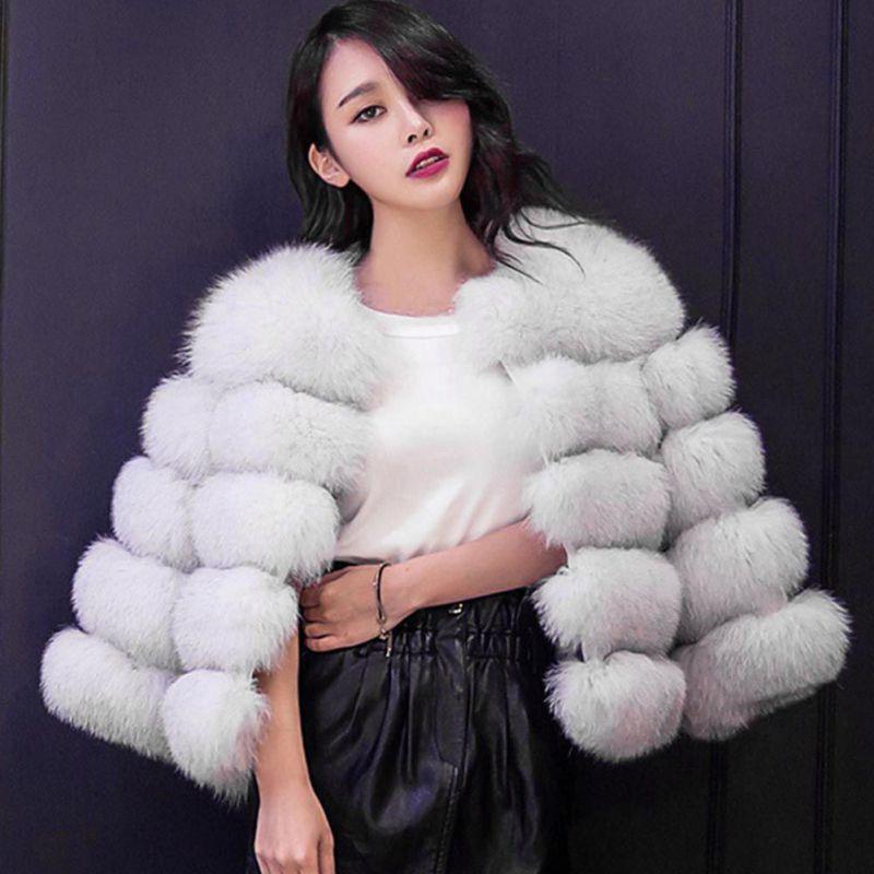 Efinny Faux Fur Coat Women White Gray Red Mink Luxury -6580