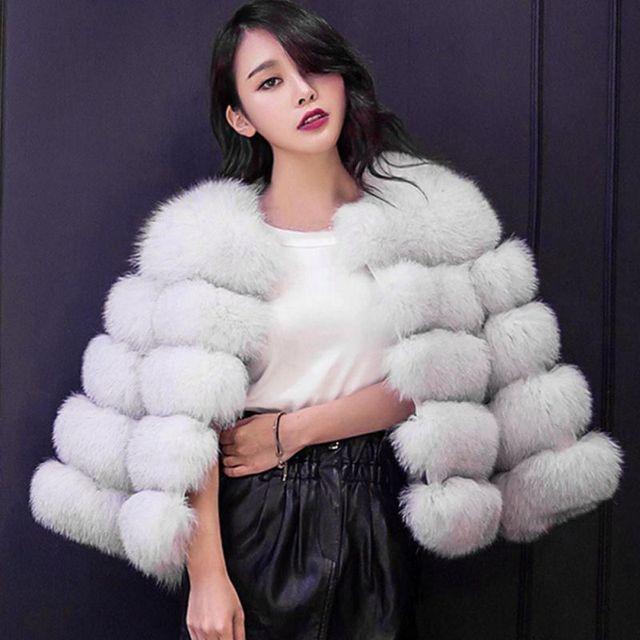 e302ce64e EFINNY Faux Fur Coat Women White Gray Red Mink luxury women Short Coat  lmitation fur jacket women coat plus size 3XL