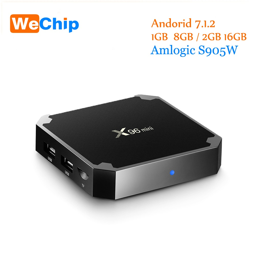 Wechchip X96 Mini Android 7,1 Tv Box 1g + 8g/2G + 16G Amlogic S905W Quad Core Soporte 4 K reproductor multimedia 2,4g Wifi x96mini Set Top Box