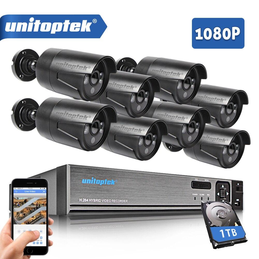 цена на CCTV Camera System 8CH AHD DVR DIY Kit With 8Pcs 1080P 2.0MP Security AHD Camera IR Outdoor CCTV System Video Surveillance Set