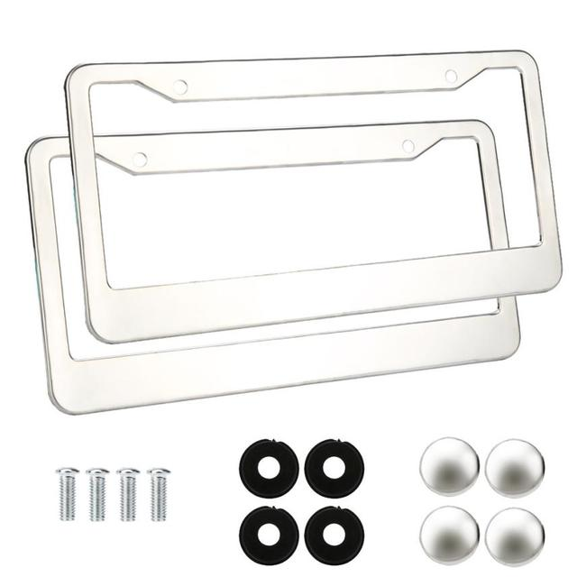 car styling 2 pieces stainless steel metal license plate frames tag cover screw caps silver - Metal License Plate Frames