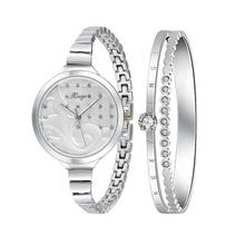 XINGE Women's Watch Women Silver Rhinestone Bangle Watch And Bracelet Set 189S Fashion Wristwatch Top Gift JY12