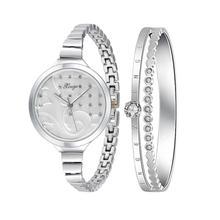 XINGE Women's Watch Women Silver Rhinestone Bangle Watch And Bracelet Set 189S Fashion Wristwatch Top Gift JY12