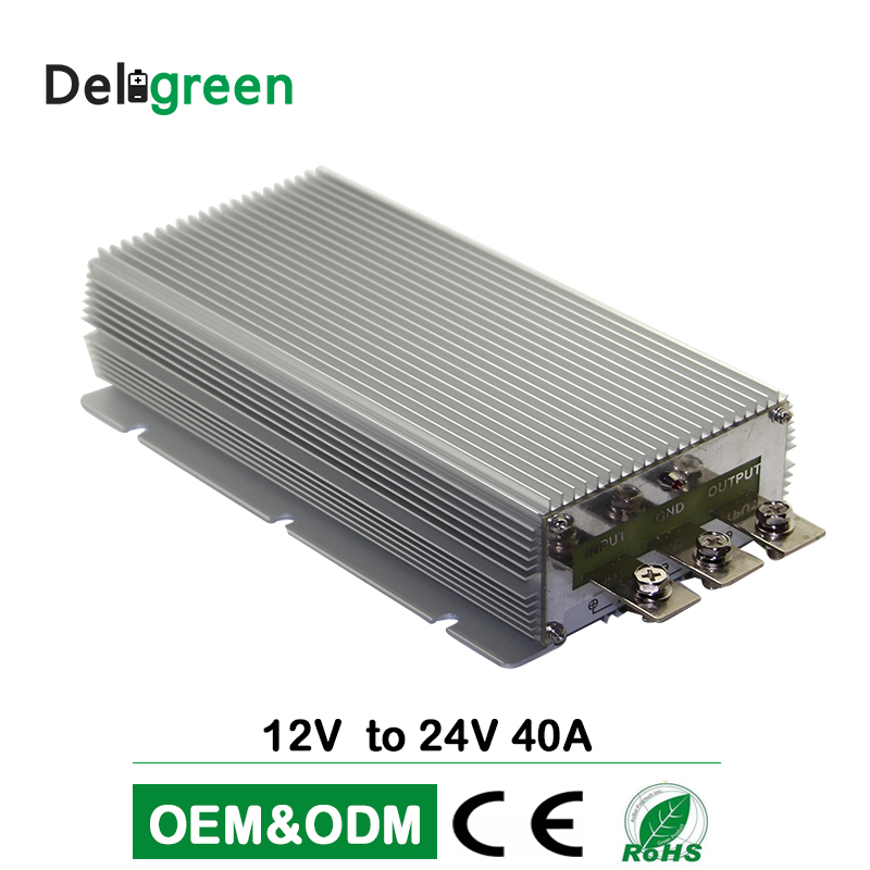 DC DC Step up Converter 12V to 24V 40A 50A wide input RegulatorCar converter power supply Deligreen