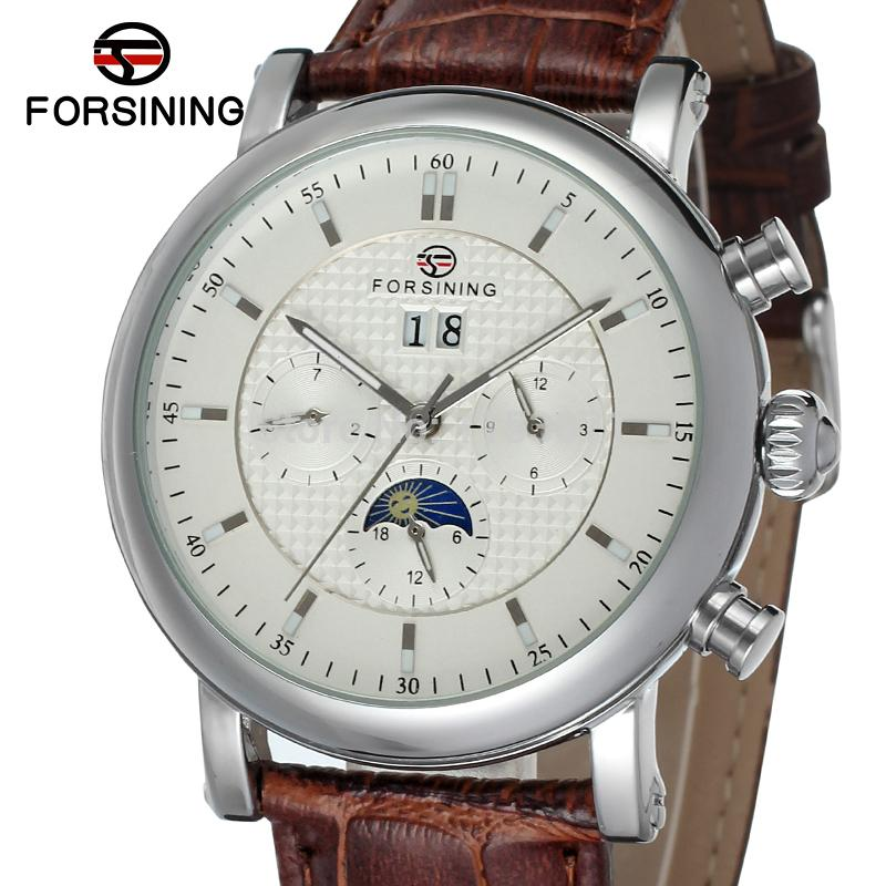 FSG553M3S1 Best price new Forsining Automatic men watch with moon phase  brown genuine leather strap free shipping with gift box best price 5pin cable for outdoor printer