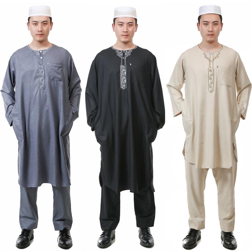 5Color Men Islamic Clothing Jubba Thobe Saudi Arabia Muslim Clothes Trousers Set Traditional Arab Dubai Clothing for Islam Man
