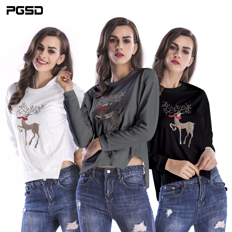 PGSD Christmas fawn Irregular hem Long sleeve loose O-collar Pullover Fashion women clothes Sweatshirts female