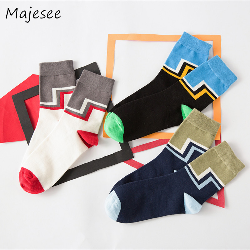 Cotton New Fashion Men Socks Patchwork Mens Funny Sock Male Breathable Deodorant Colorful Warm Trendy 3 Colors Daily Style