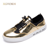 Hot Sale Britain Style Men Casual Shoes Fashion Glitter Breathable Man Flats Shoes Silver Gold Gray