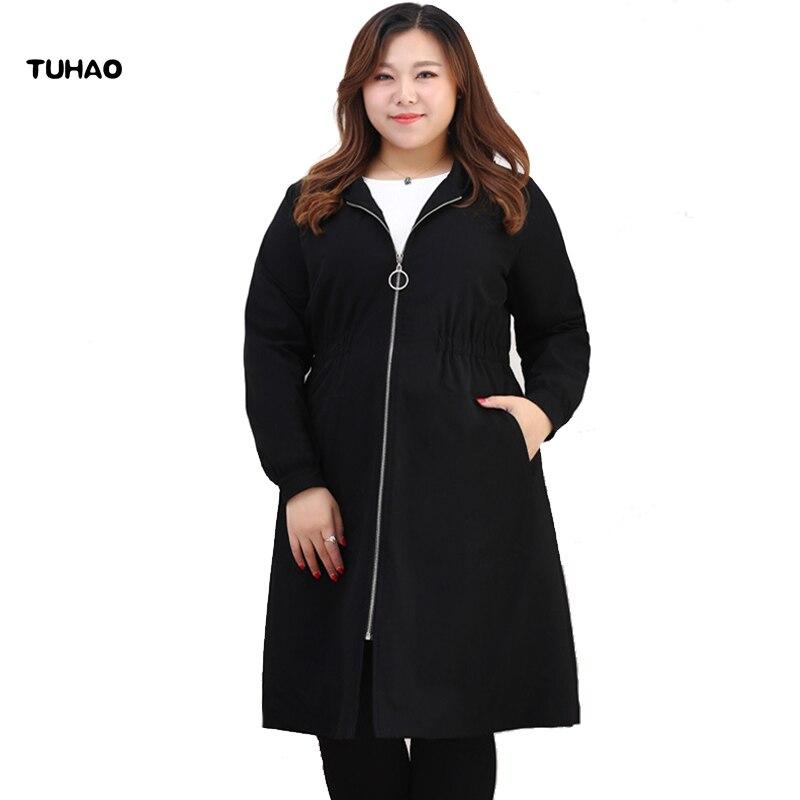 TUHAO Plus Size 10XL 9XL 8XL Women Windbreaker Coat 2018 Autumn WINTER Loose Long   Trench   Coats Women's Black Hooded Overcoat MS