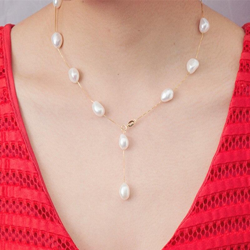 [NYMPH] 925 ezüst ékszer természetes gyöngy ékszerek fehér barokk gyöngy ékszerek nyaklánc medál nők számára x1213