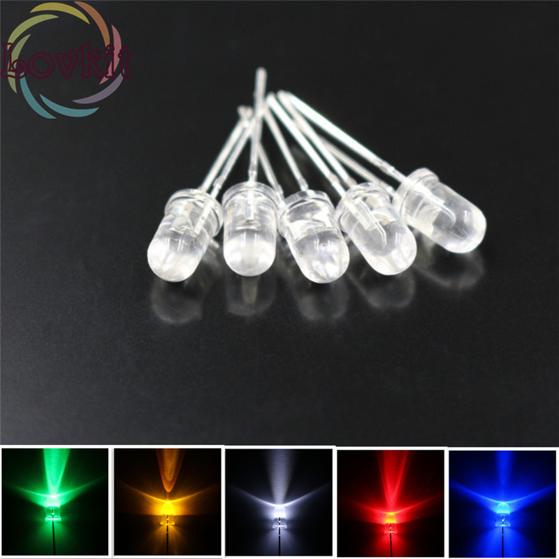 100pcs/lot 11 Colors Optional 5MM Round Top Led 5mm Ultra Bright LEDs Light Emitting Diodes Electronic Components Wholesale