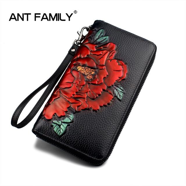 ac69196a0 3D Embossing Genuine Leather Women Wallet Zipper New Fashion Flower Long  Wallet Purse Ladies Clutch Female
