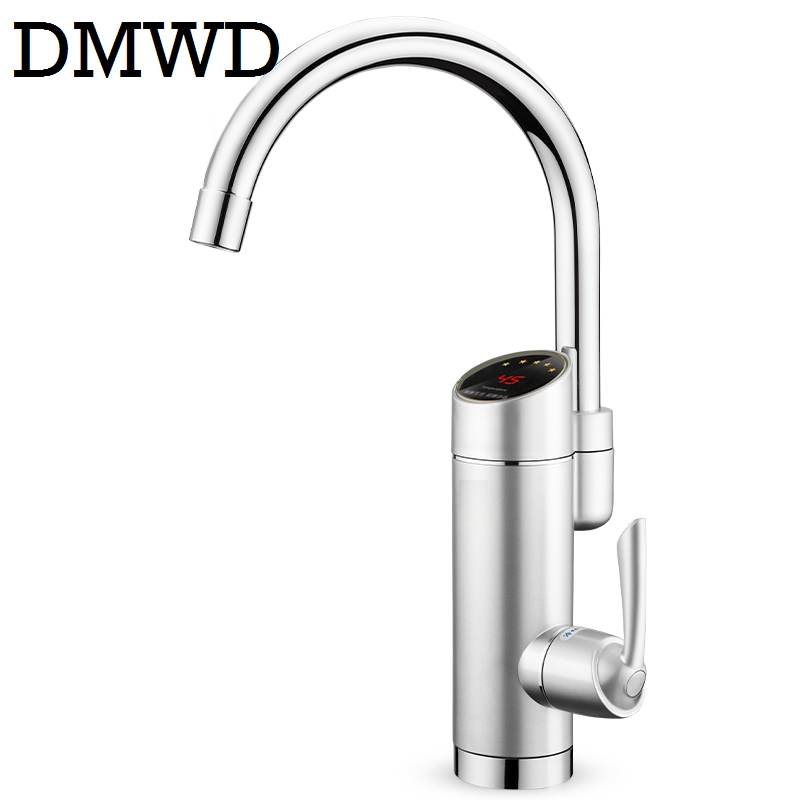 DMWD Tankless electric faucet rapid instant heating digital cold hot kitchen water heaters tap LED display 220V 3000W EU US plug