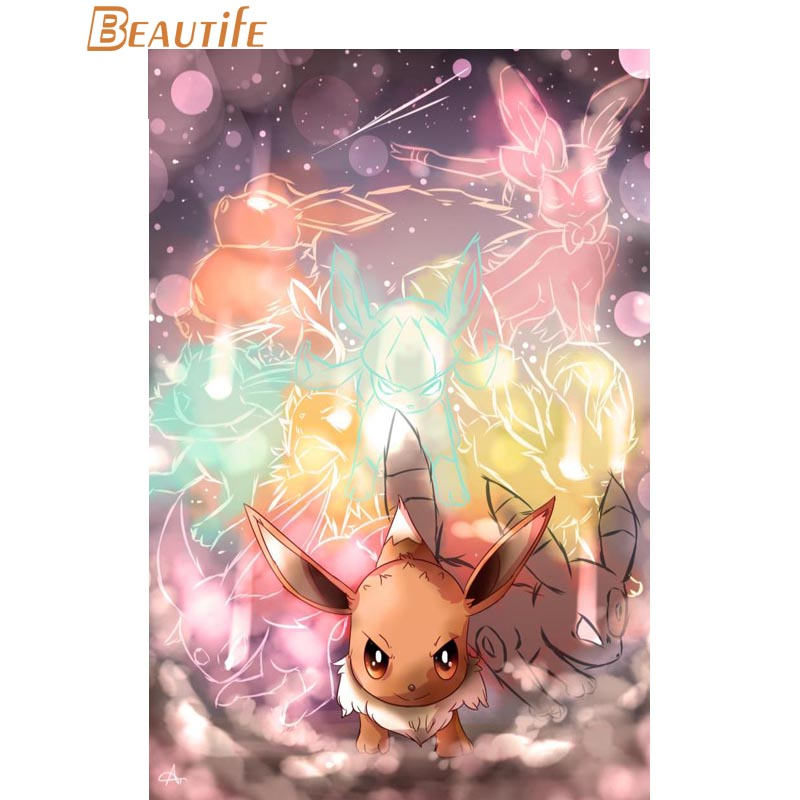 Custom pokemon sylveon art Cloth Silk Fabric poster Home Decoration Wall Art New Cloth Silk Fabric wall poster print art