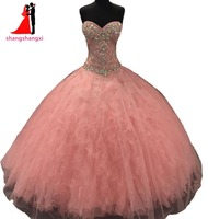 New Dusty Pink Quinceanera Dresses Champagne Ball Gown RhinestoneRuffles Sweet 16 Dresses Long Prom Gown Vestidos