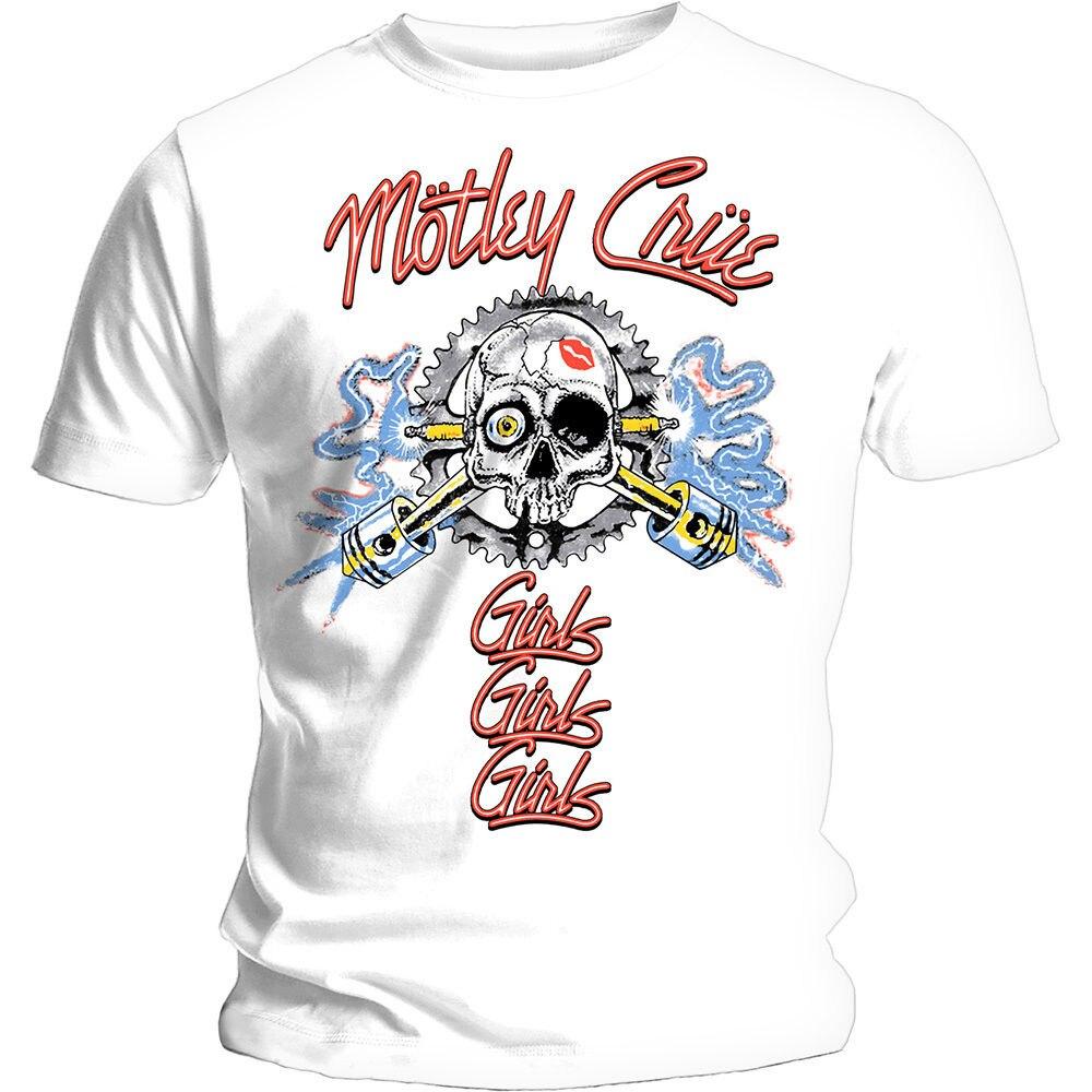 Motley Crue Mens White T-shirt candela Vintage Girls GirlsCool Casual Sleeves Cotton T-Shirts Fashion