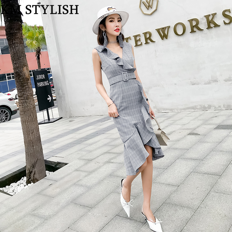 2018 Summer Woman Temperament V-neck Sleeveless Waist Belt Ruffle Irregular Dress Plaid Fishtail Dress Grey & Brown Color