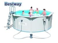 "56571 Bestway Round 12'x48""/3.60mx1.20m HYDRIUM POOL Set Above Ground Iron Plate Pool Set:Pool Filter Pump Safe Ladder Mattress|pool set|pool poolpool bestway -"