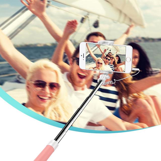 Mini Selfie Stick Portable 3.5MM Selfie-Stick Monopod With Button Mirror Foldable Mini Selfie Stick For Xiaomi Huawei Android