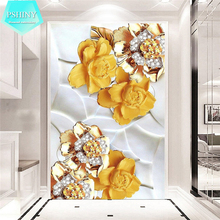 PSHINY 5D DIY Diamond embroidery Good luck gold flower picture full mosaic kit Round rhinestone painting cross stich
