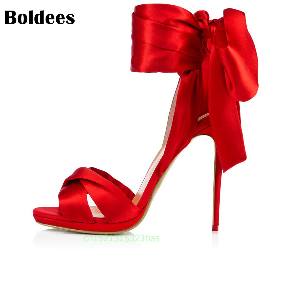 Boldees Sandals Summer Open Toe Satin High Heel 10CM / 12cm Women Shoes Black Red Gladiator Shoes Ankle Strappy Wedding Shoes summer hot black mesh patchwork women open toe sandals ankle lace up ladies gladiator high heel zipper back dress shoes stiletto
