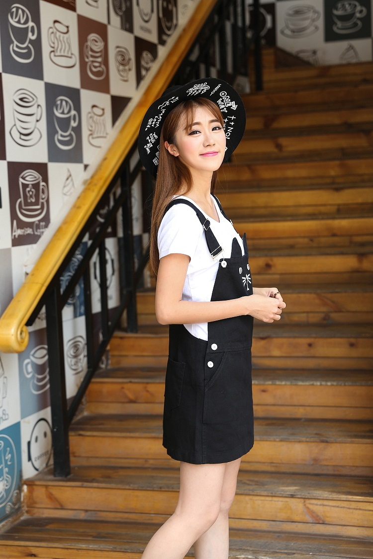 793bfc25ec Detail Feedback Questions about Black cute plus size lolita jeans overall  braces dress with suspenders women s clothing short mini cat printed denim  dresses ...